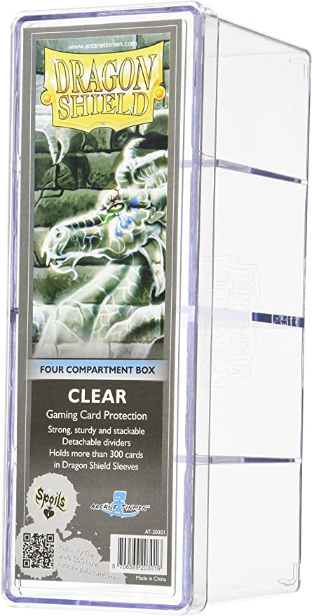 Dragon Shield BUNDLE 100 Sleeves Clear 4 Compartment Box