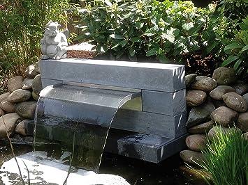 niro-dreams Edelstahl Wasserfall 45 cm, Wasserspeier,Bachlauf,