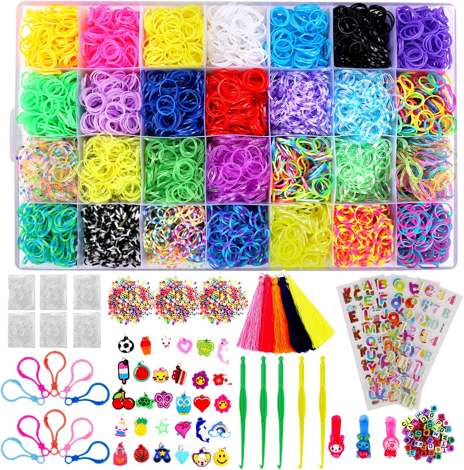 Rubber band kit with colored rubber bands, stickers and other accessories.