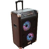"""Jetrad PA882i Equipo Hi-Fi PA • 2 x Subwoofer 8"""" (20cm) • Portátil con Batería integrada • Bluetooth • USB • SD • AUX • Potencia de Salida de 200W • Dos Micrófonos Inalámbricos VHF"""