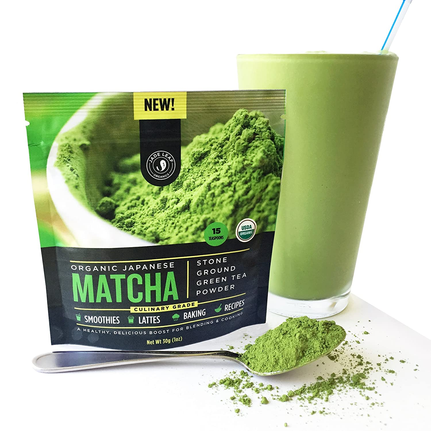 Matcha Green Tea Powder Organic - Japanese Culinary Grade (Smoothies, Lattes, Baking, Recipes) - Antioxidants, Energy Boost - Jade Leaf Brand [30g Starter Size]
