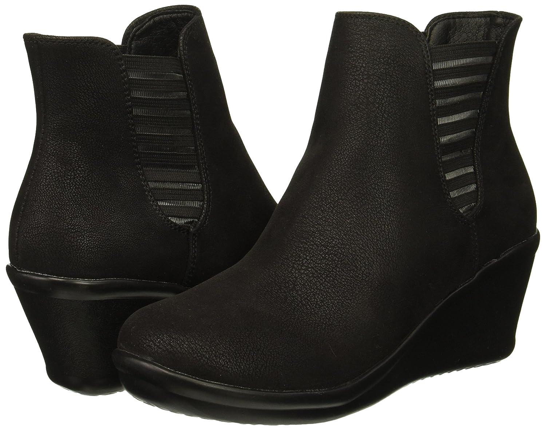 Skechers Women's Rumblers-Beam Me up-Wedge Heeled Dressy Casual Striped Gore Chelsea Boot B079HLZ5QP 7.5 B(M) US|Black