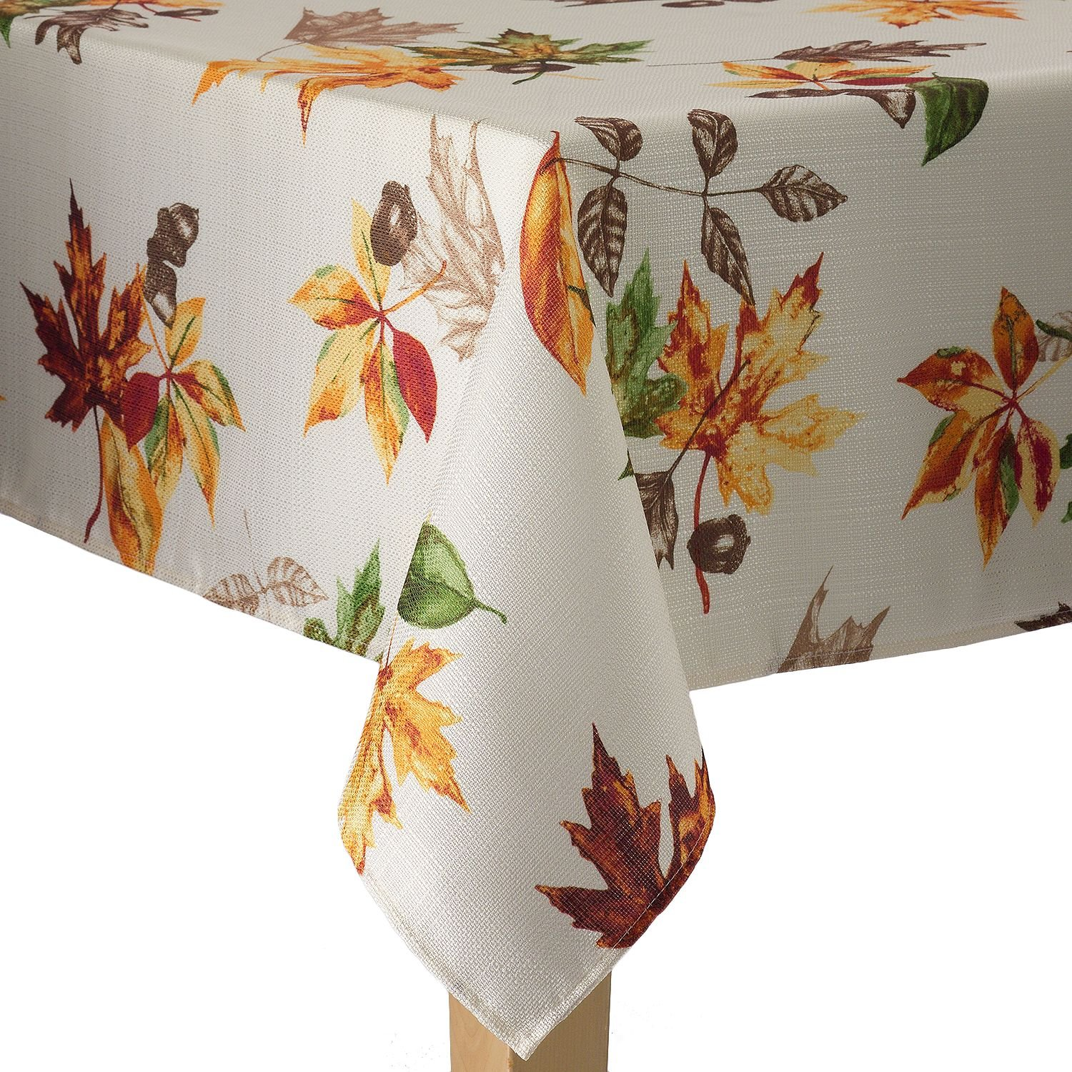 Harvest Season Leaf Pattern Woven Fabric Fall Tablecloth - Ivory - 60 x 102 Obl