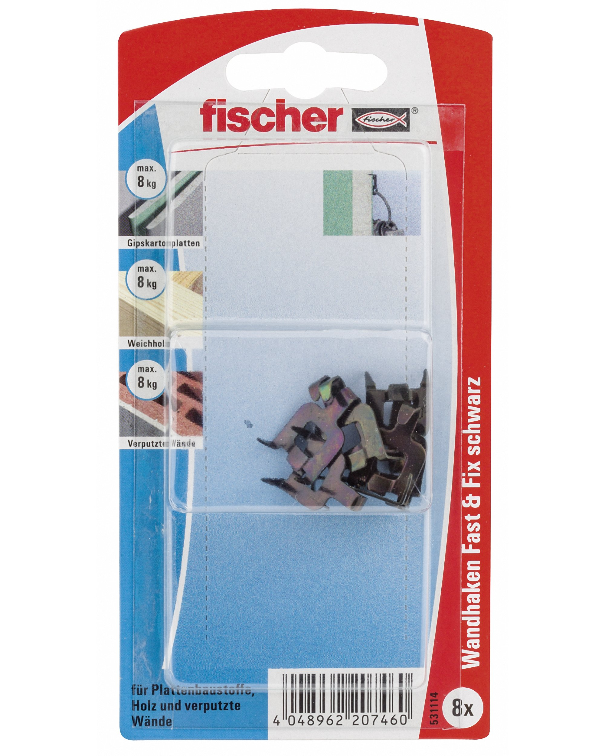 Fischer 531114'' Fast and Fix Black Wall Hook - Multi-Colour (8-Piece)