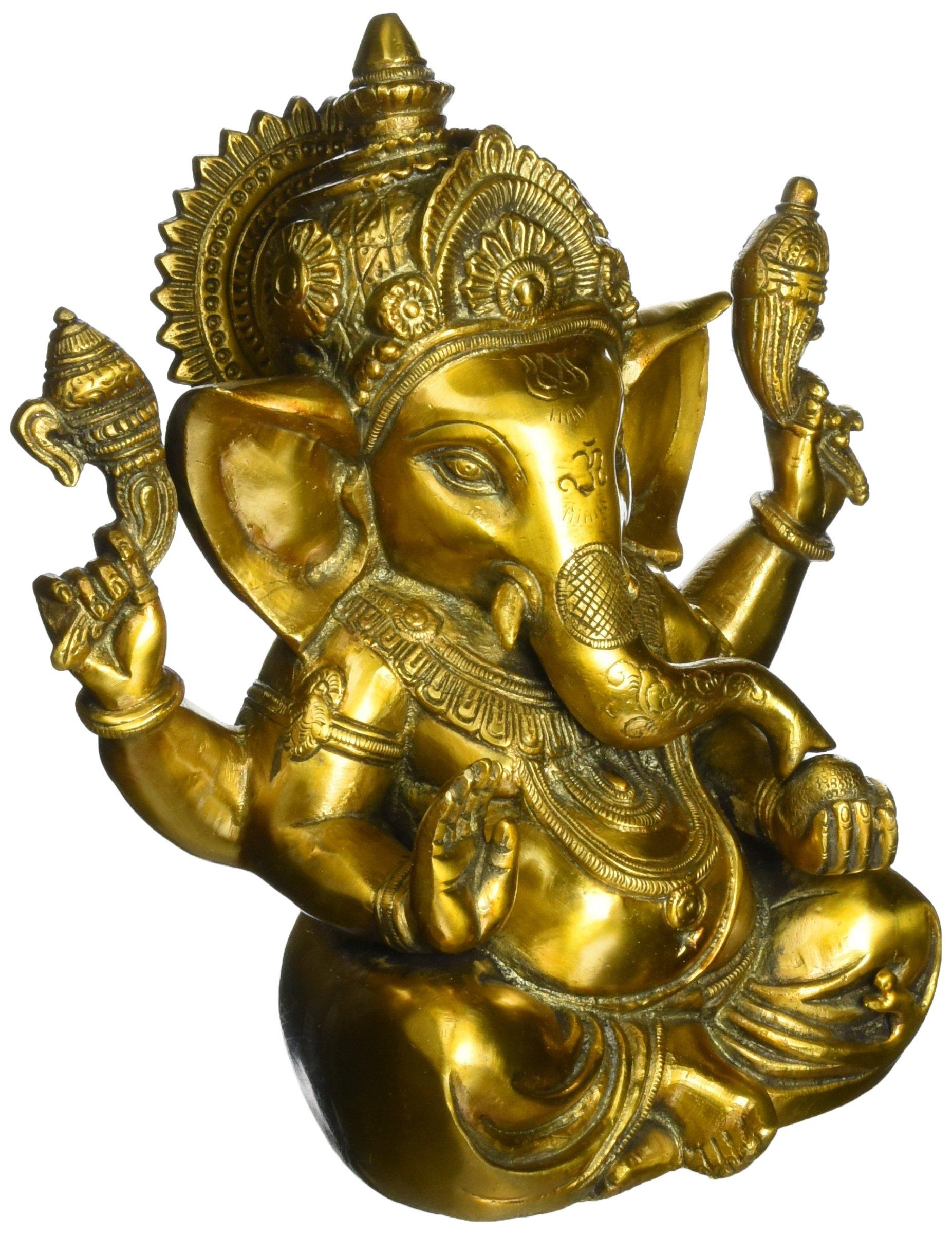 Aone India Large Ganesh Idol Figurine Elephant God Statue Showpiece Antique Finish Sculpture - Brass Ganesha + Cash Envelope (Pack Of 10)