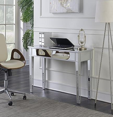 Convenience Concepts Gold Coast Mirrored Desk, Silver Mirror