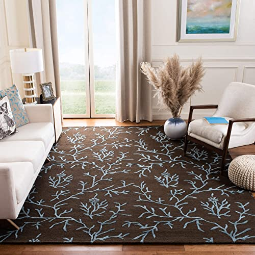 Safavieh Soho Collection SOH214B Handmade Brown and Light Blue Premium Wool Area Rug 7'6″ x 9'6″