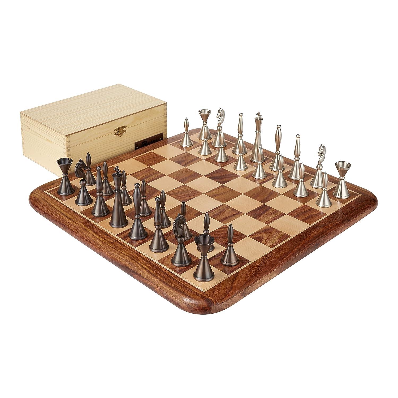 2019公式店舗 アールデコ真鍮製チェスセット -&収納ボックス - B0778PVTPS 3.3