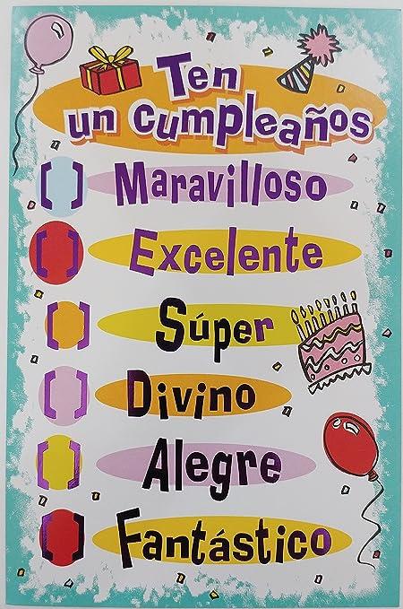 Amazon ten un cumpleanos maravillos excelente super divino ten un cumpleanos maravillos excelente super divino alegre fantastico happy birthday greeting card in spanish m4hsunfo