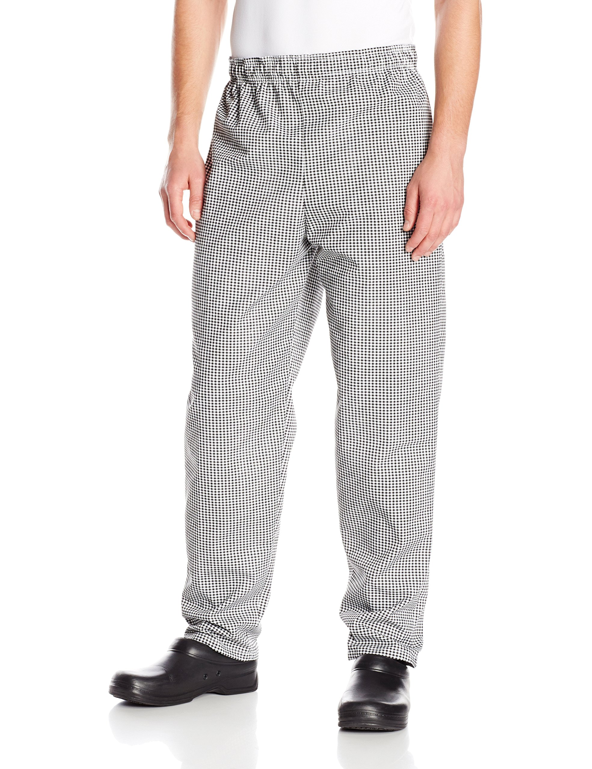 Chef Designs Red Kap Men's Baggy Chef Pant, Black/White Check, Medium