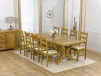 Ashley Mesa de Comedor Extensible de Roble Macizo con Juego de 8 Valencia sillas: Amazon.es: Hogar