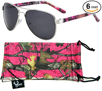 176324017414 Hornz Hot Pink Camouflage Polarized Aviator Sunglasses for Women   Free  Matching Microfiber Pouch – Medium