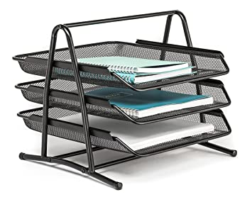 Marvelous Mindspace 3 Tier Office Organizer, Desk Letter Tray   The Mesh Collection,  Black