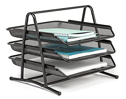 Charmant Letter Tray 3 Tier Office Desk Organizer By Mindspace | The Mesh  Collection, Black
