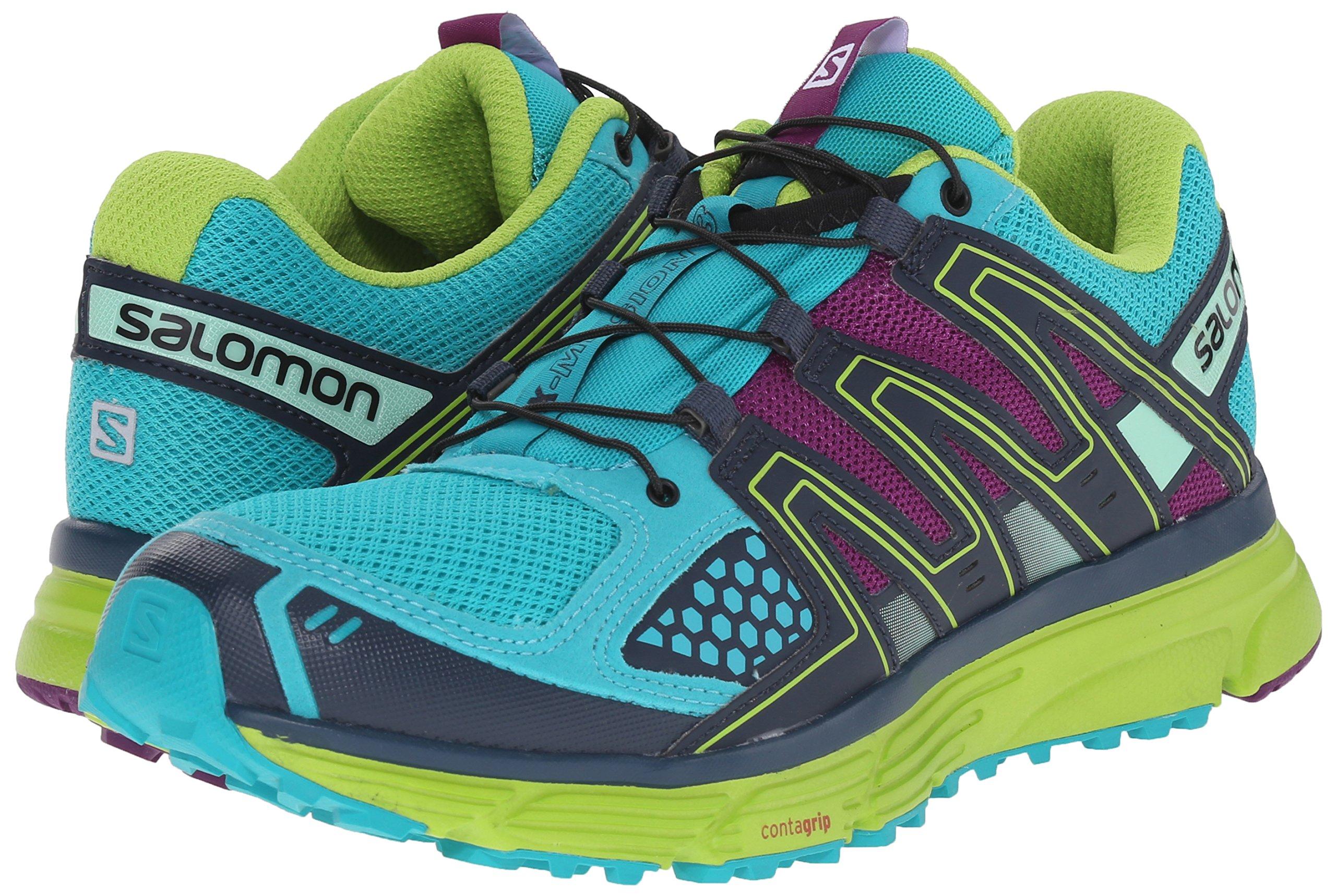 Salomon Women's X-Mission 3 W Trail Running Shoe, Teal Blue/Granny Green/Passion Purple, 7.5 B US by Salomon (Image #6)