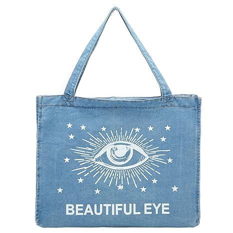 Bolsa de la compra de tela vaquera suave lavada de ojo para ...
