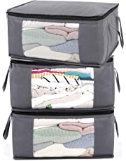 ABO Gear G01 Bins Bags Closet Organizers Sweater Clothes Storage Containers, 3pc Pack, Gray