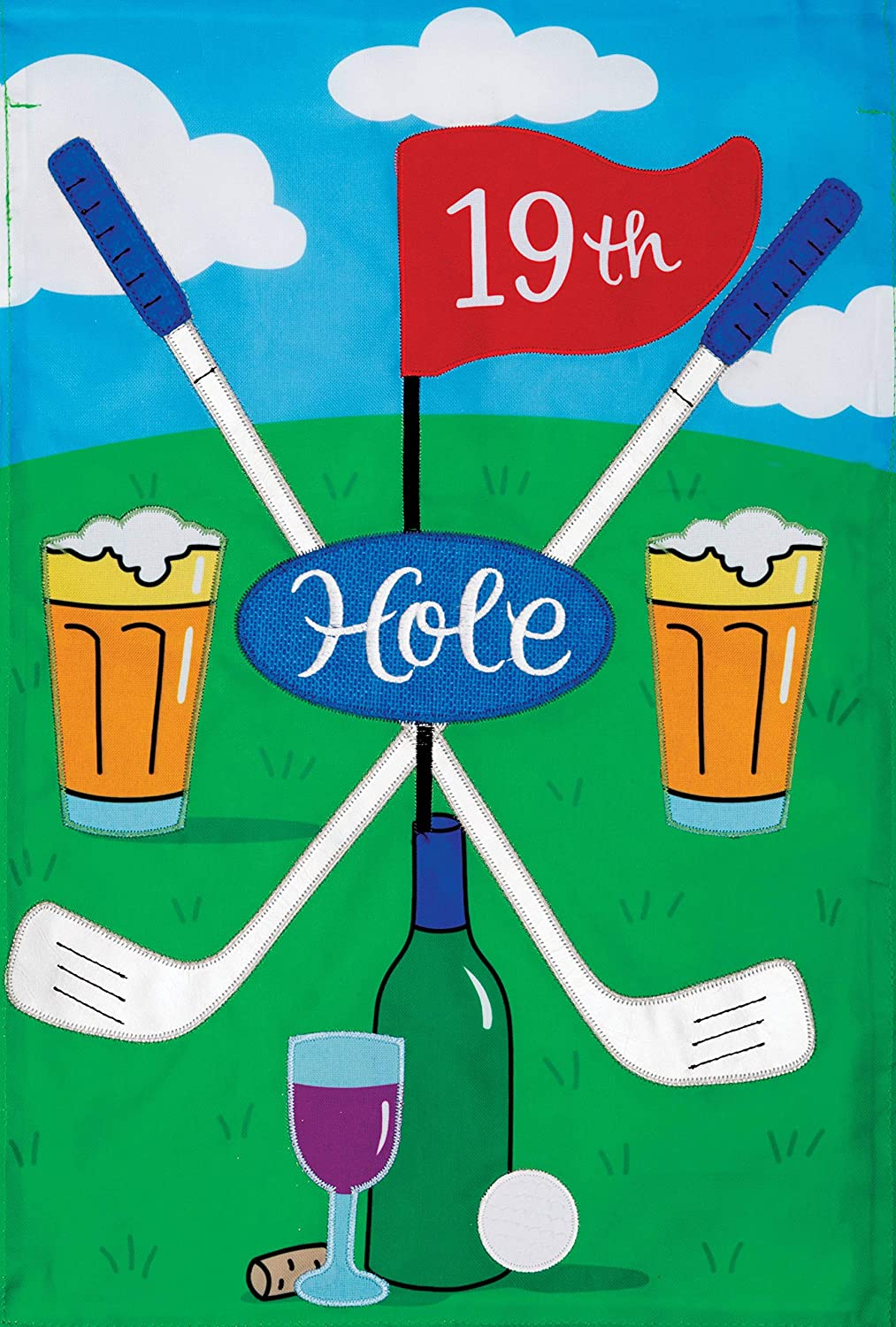 Custom Decor 19th Hole - Garden Size, Emboidered Applique Style, Double Sided Decorative Flag - Approx. 12 Inch X 17.98 Inch
