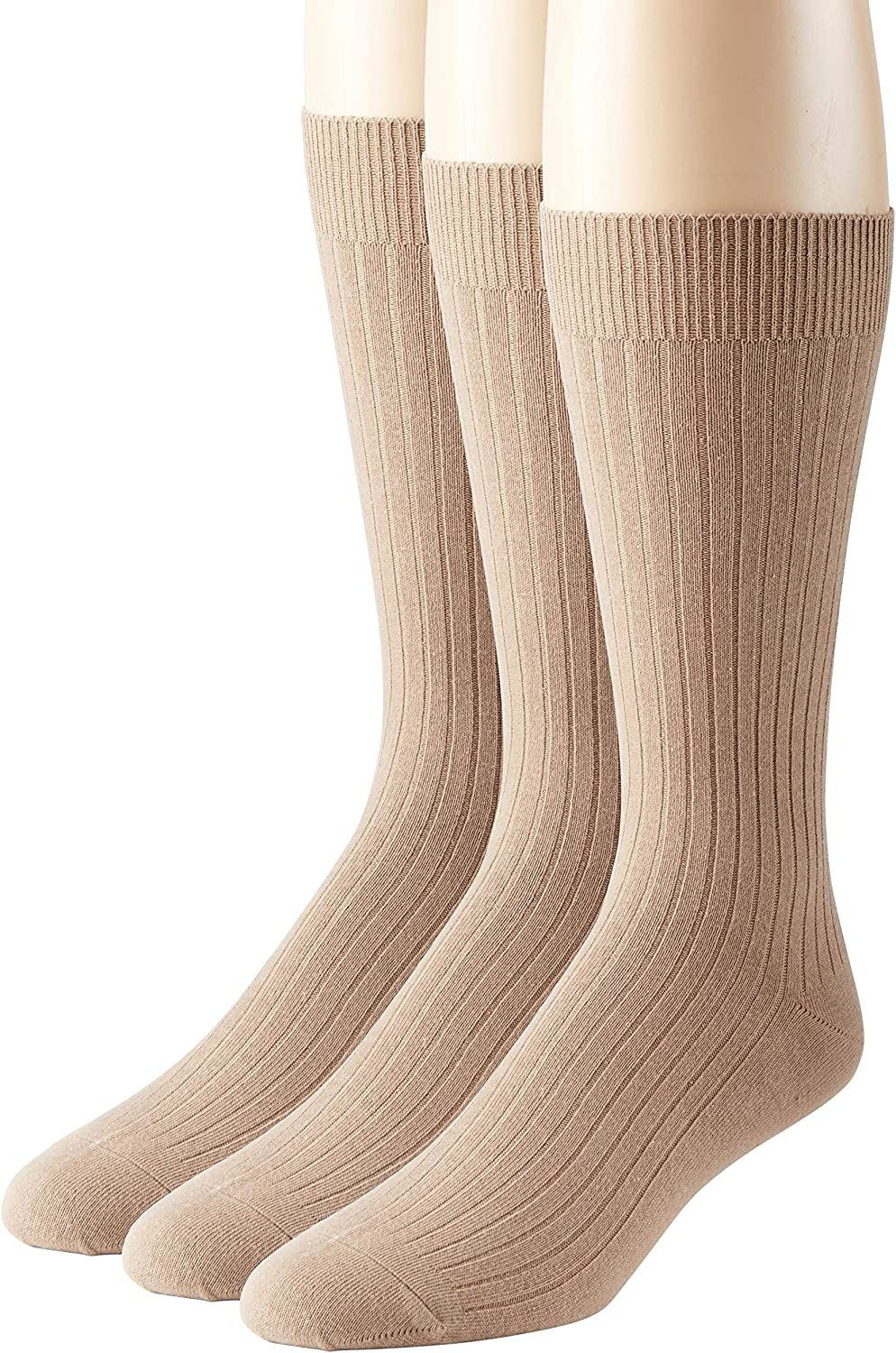 Men's Socks Soft Ribbed Knit Classic Cotton Mid-Calf Crew Dress Socks 3 & 6 Pack