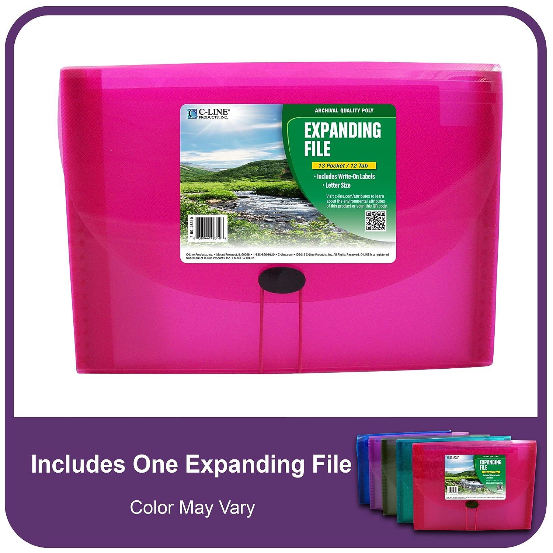 Amazon.com: C-Line Biodegradable 13-Pocket Expanding File, Letter ...