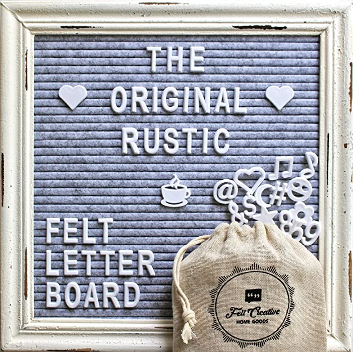 Gray Felt Letter Board with Rustic White Wood Farmhouse Vintage Frame and Stand by Felt Creative Home Goods | 10x10 Inch Antique Changeable Message Board 350 White Alphabet Letters, Numbers, Emojis