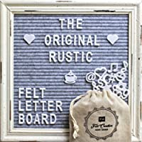 Gray Felt Letter Board with Rustic White Wood Vintage Frame and Stand by Felt Creative Home Goods | 10x10 Inch Antique Changeable Message Board Includes 340 White Alphabet Letters, Numbers, Emojis