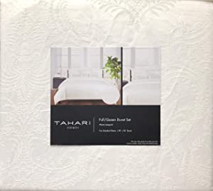 Tahari Home Bedding Full/Queen Size Luxury Cotton 3 Piece Duvet Cover Pillowcases Shams Set Raised Woven Jacquard Paisley Floral Pattern in Light Cream Thread on a Lighter Cream/Ivory Background