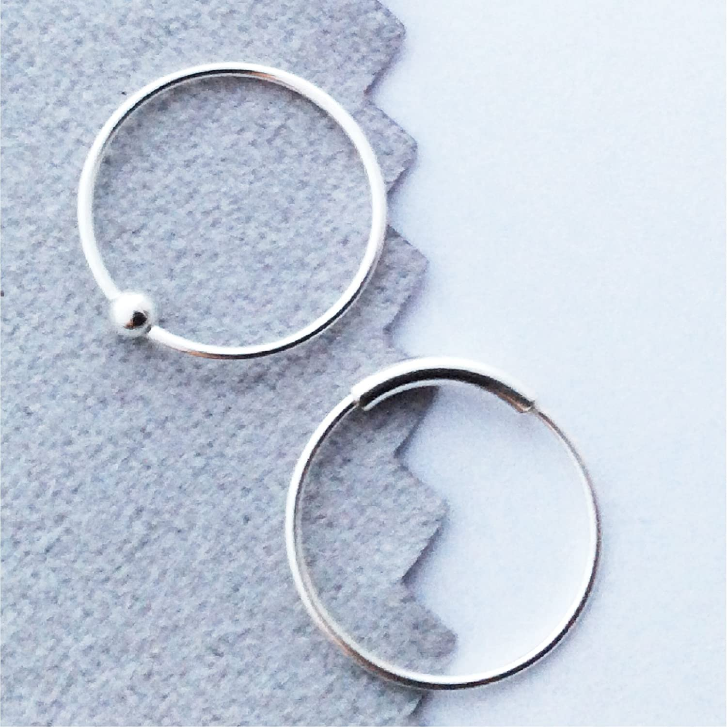 Amazon Com Nose Rings 12mm 22 Gauge Sterling Silver Set Of