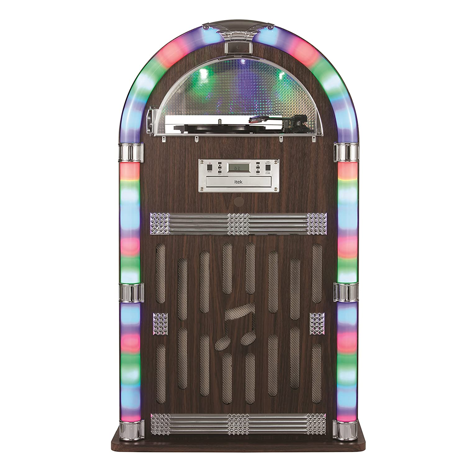 iTek I60021 Floorstanding Jukebox with Record Player, Bluetooth  Connectivity, FM Radio, CD Player and Colour-Changing LED Lights, Remote  Control