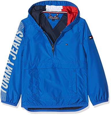 Tommy Hilfiger S Hooded Pop Over Jacket, Chaqueta para Niños, Azul (Nautical Blue