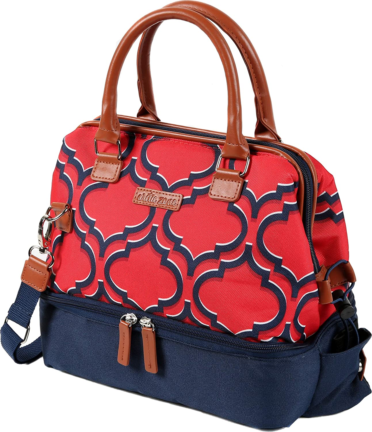Arctic Zone 1528AMPR0428 Thermal Insulated Lunch Tote, 2 Compartments - Batik, Red