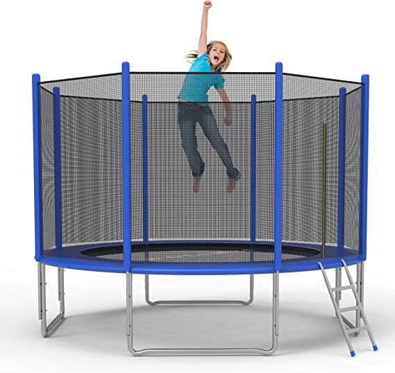 REYO 12FT Kids Trampoline with Hoop Combo Bounce Jump Trampoline for Kids Outdoor Entertainment with//Safety Enclosure Net Spring Pad Ladder