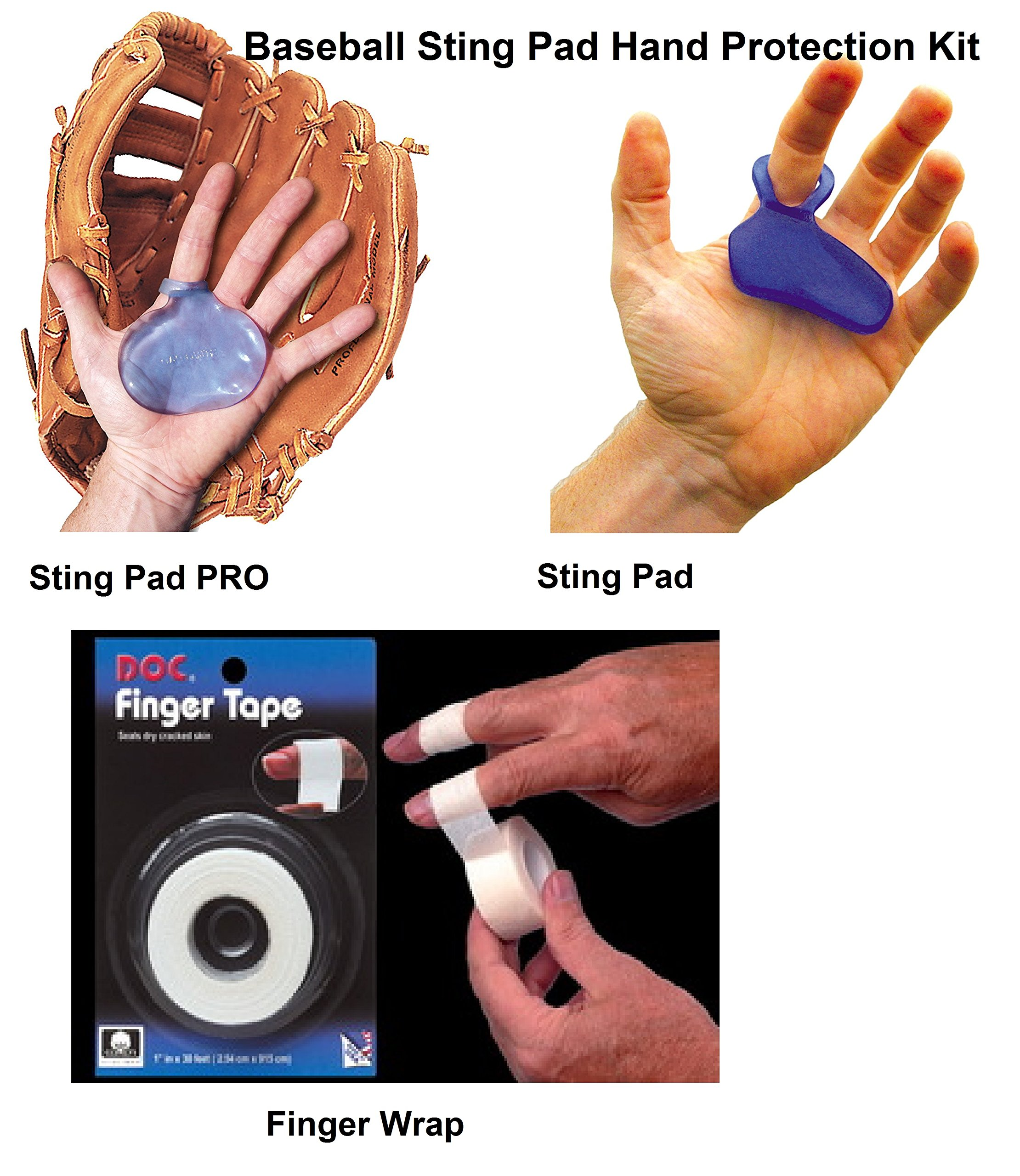 Baseball Sting Pad Pro Hand Protection 3 Piece Bundle with Finger Wrap by Hot Glove