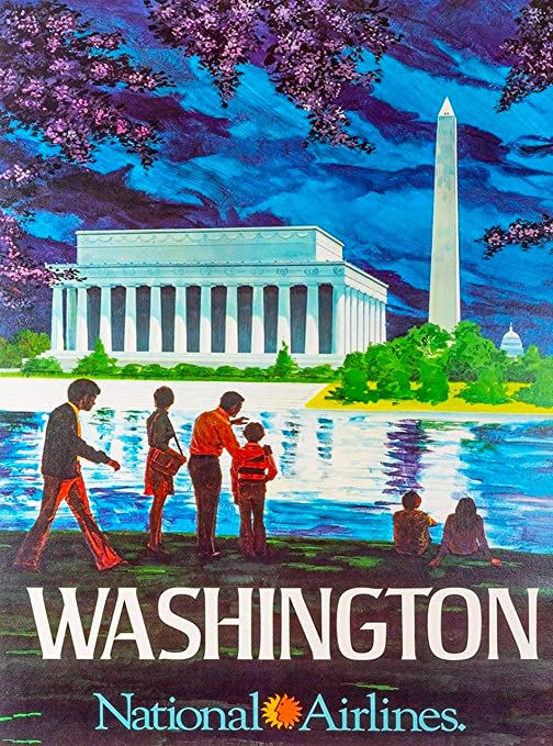 Travel Advertisement Poster Print Washington D.C.National Airlines Vintage U.S