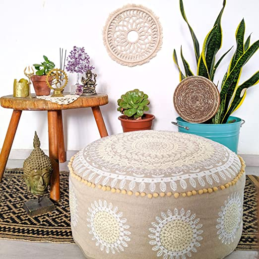 and Boho Chic Seating Area Stool Floor Pillow Case Bedroom Yoga Artisan Room D/écor Pouffe for Meditation Luxury Mandala Life ART Bohemian Pouf Ottoman Cover Accent Your Living Room