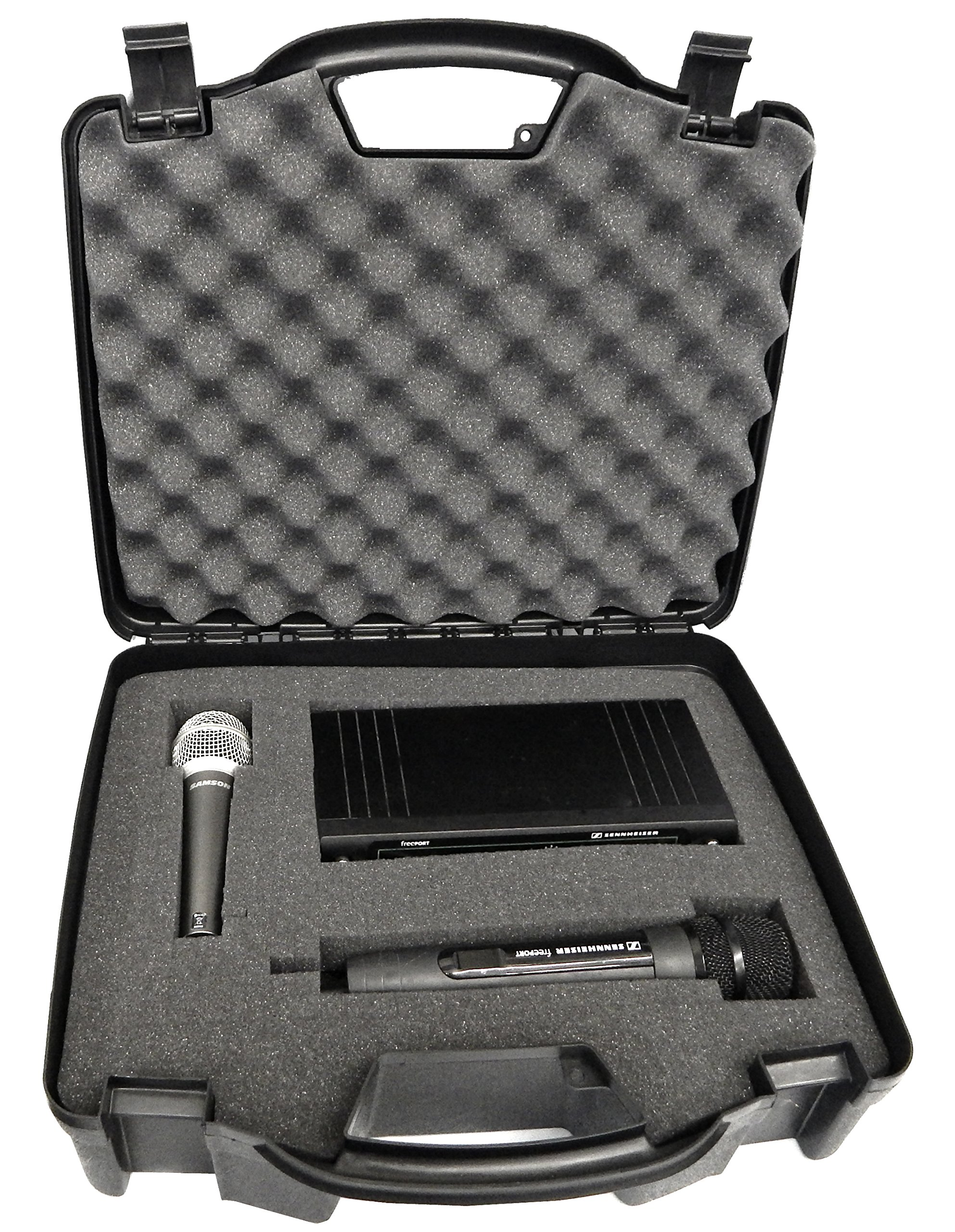 STUDIOCASE Wireless Microphone System Hard Case w/ Foam - Fits Sennheiser , Shure , Audio-Technica , Nady , VocoPro , AKG With Receiver , Body Transmitter , UHF Headset , Lavalier and Handheld Mics by CASEMATIX