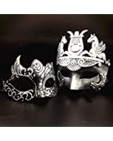 Silver / Black Glitter Women Mask & Silver Roman Warrior Men Mask Venetian Couple Masks For Masquerade / Party / Ball Prom / Mardi Gras / Wedding / Wall Decoration