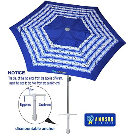 AMMSUN 8ft Fiberglass Ribs Commercial Grade Patio Beach Umbrella with Air- Vent Separate Sand Anchor Carry Bag Navy Blue White Stripe