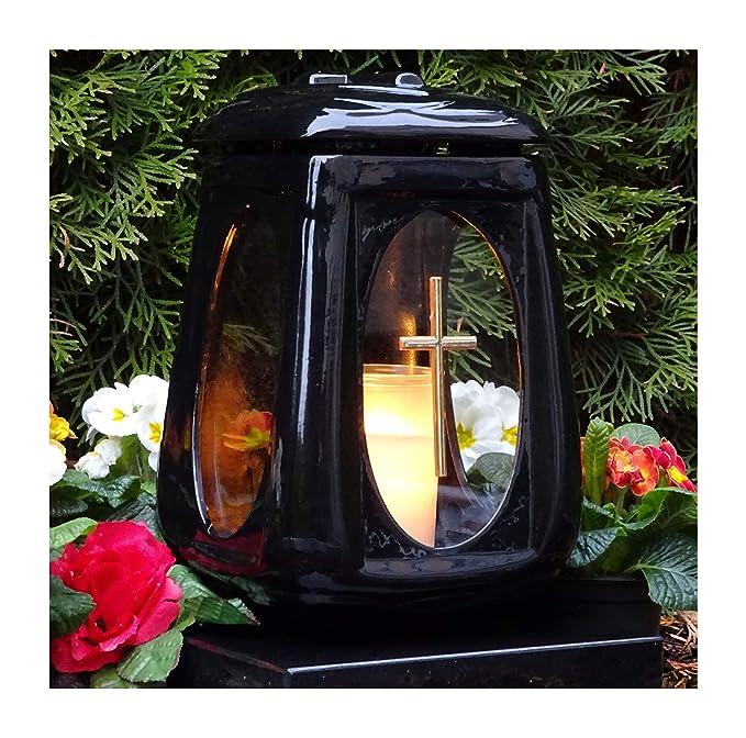 ? GRABLAMPE Jakob incl.GRABKERZE 26,0cm GRABLATERNE GRABSCHMUCK Herz Rose GRABLEUCHTE Friedhof Grablicht