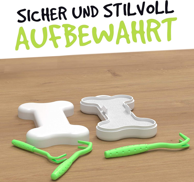 innoGadgets gancho para garrapatas con una elegante caja de almacenaje Quita las garrapatas r/ápida y suavemente Verde