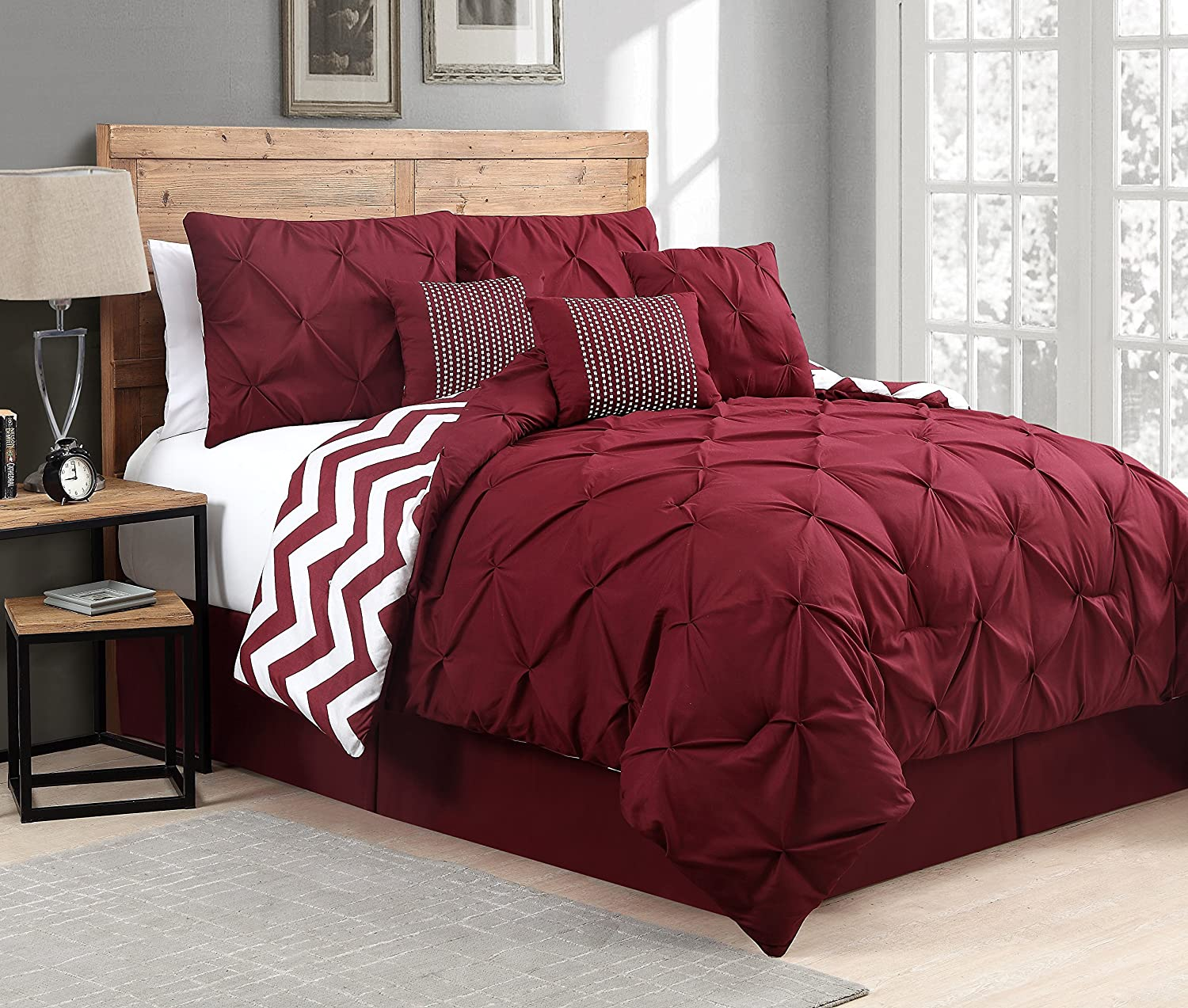 Geneva Home Fashion 7 Piece Venice Pinch Pleat, Queen, Red