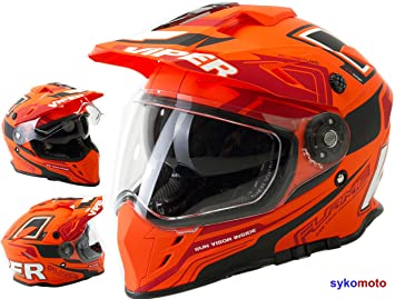 Viper Moto VIPER RX-V288 MOTOCROSS HOMOLOGADO INTEGRAL ADULTOS DOBLE VISERA CASCO DE MOTO NARANJA