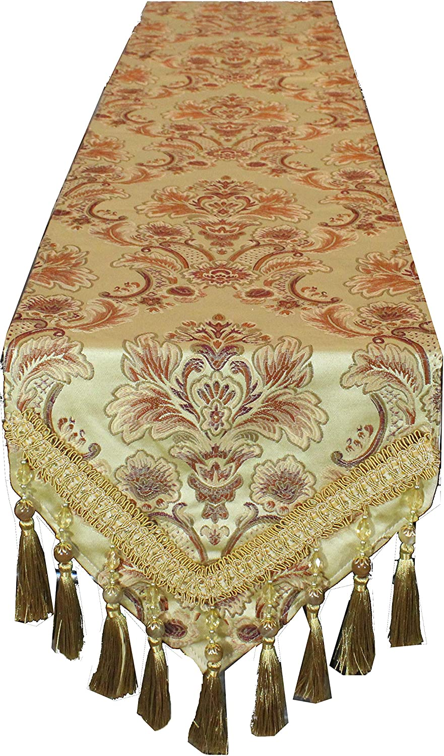 Tulla Traditional Omaha Mall Floral Design Table Tassels Sales for sale Runner Embro with