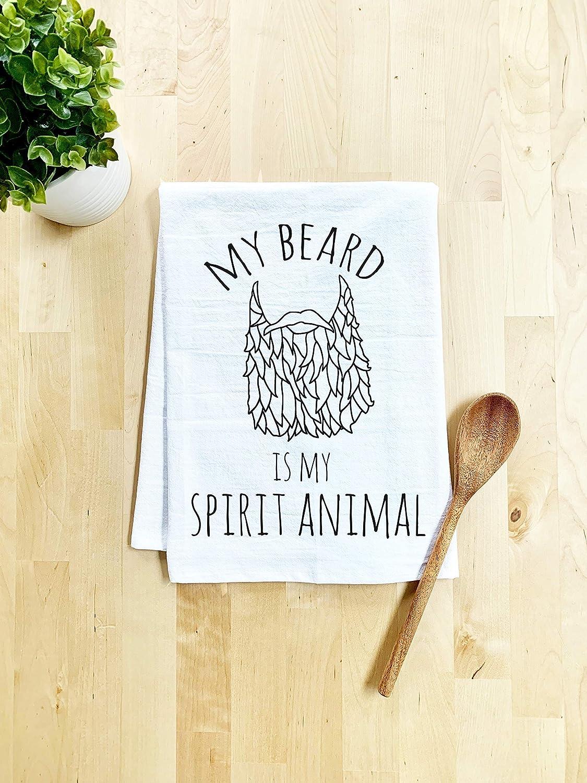 My Beard is My Spirit Animal White Flour Sack Kitchen Towel Funny Dish Towel Sweet Housewarming Gift Farmhouse Kitchen Decor