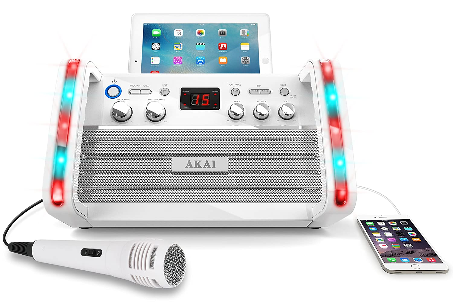 Akai KS213W Portable CD&G Karaoke System with Tablet Cradle, White