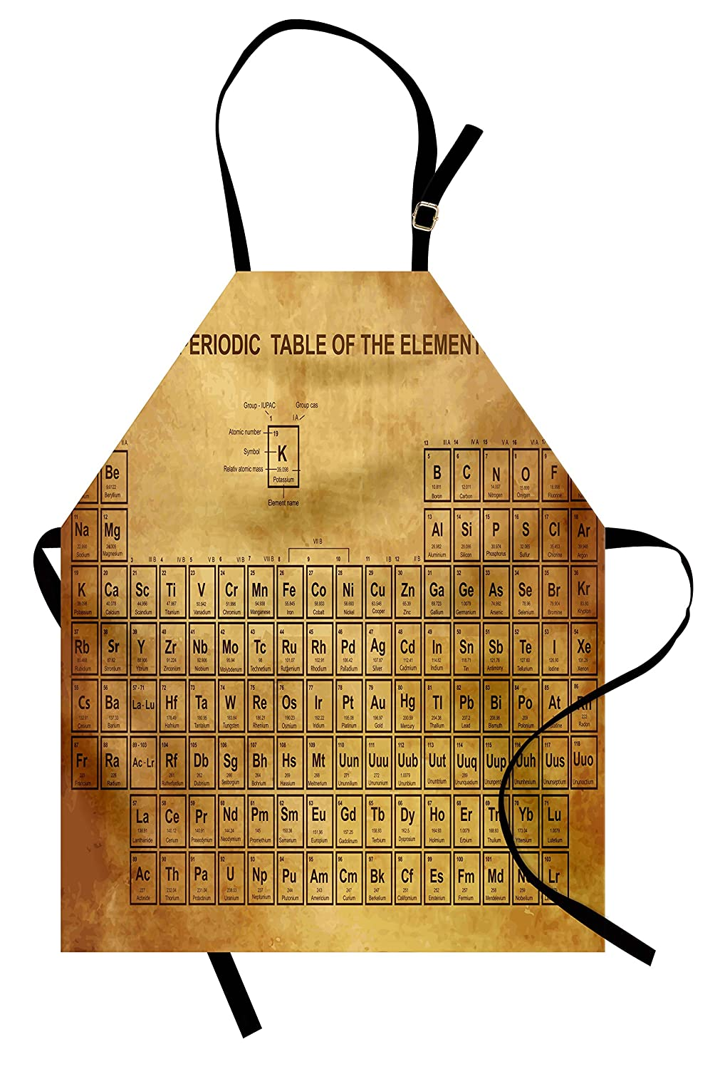 Ambesonne Science Apron, Elements Chemistry Table Vintage Old Design for Scientists Student Print, Unisex Kitchen Bib Apron with Adjustable Neck for Cooking Baking Gardening, Sand Brown Brown