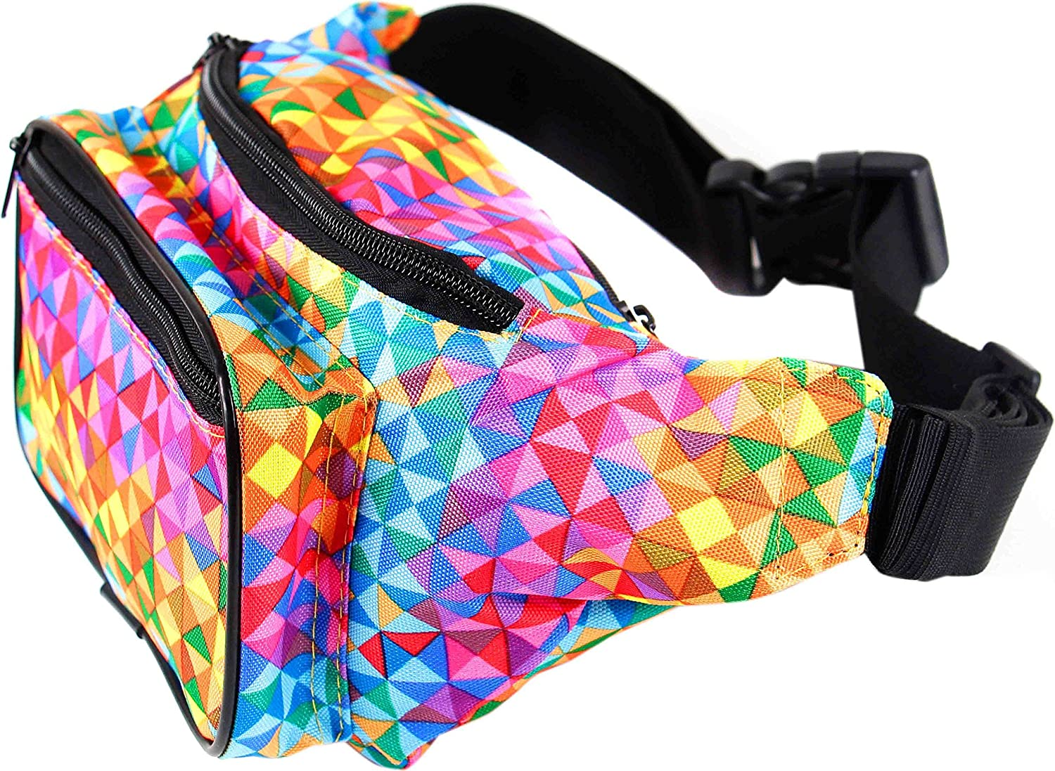 Irredescent Rainbow Best Gift Ideas Holographic Reflective Chameleon Effect 2 Pouches Adjustable Belt FannyPack Luminous