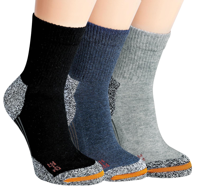 Vitasox Kinder Teenager Jungen Mädchen Funktions Socken mit Frottesohle Sportsocken Funktionssocken einfarbig 3er, 6er Pack 210426