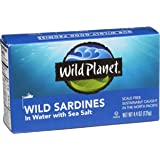 Wild Planet Wild Sardines in Water with Sea Salt, Keto and Paleo, 3rd Party Mercury Tested, 4.4 Ounce