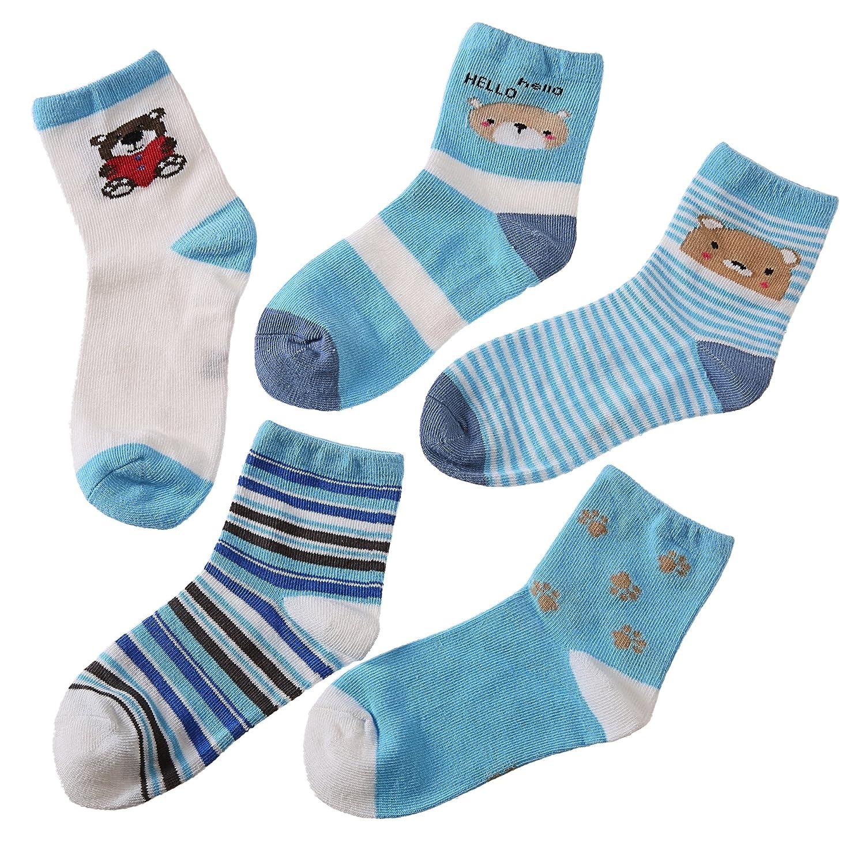 NOVCO Kids Girls Boys Socks Fashion Cute Animal Patterns Cotton Crew Socks 5 Pairs